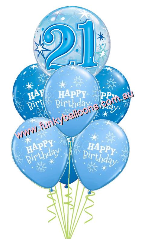 21st Blue Starburst Bubble Birthday Bouquet
